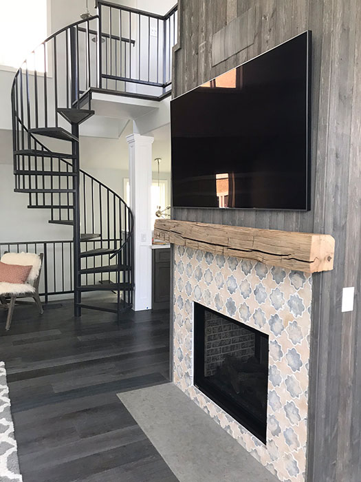 modern rustic fireplace - Timme G Design